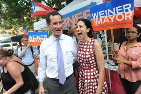 Mayoral candidate Anthony Weiner and his wife Huma Abedin.